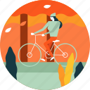 autumn, bicycle, bike, girl, leaf, tree, woman icon