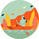 autumn, boat, lake, leaf, leaves, liver, woman icon
