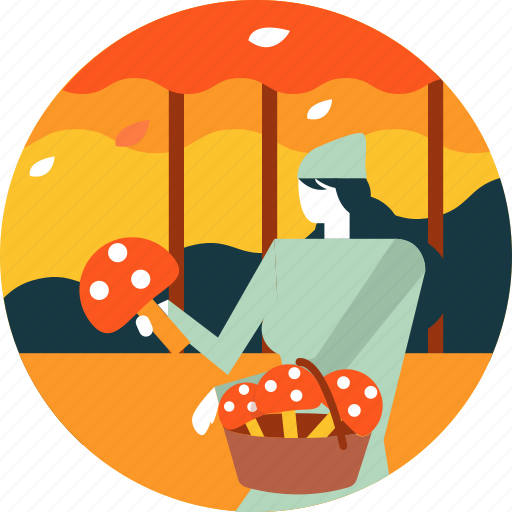 activity, autumn, busket, finding, forest, mushroom, woman icon