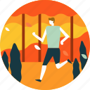 autumn, fall, jogging, leaf, man, person, run icon