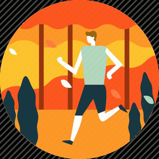 autumn, fall, jogging, leaf, man, person, run icon
