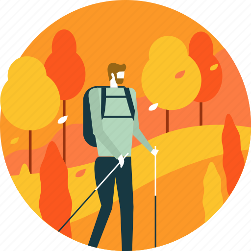 activity, autumn, hiking, leaves, man, trail, tree icon