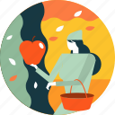 activity, apple, autumn, fruit, garden, picking, season icon