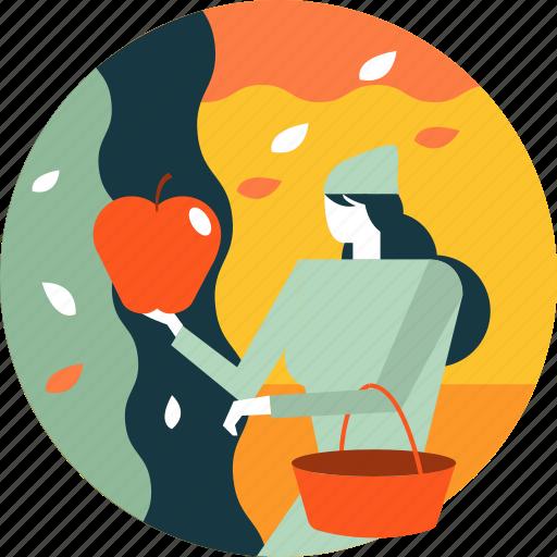 activity, apple, autumn, fruit, garden, picking, season icon