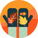 autumn, hand, leaf, leaves, nut, season, seed icon