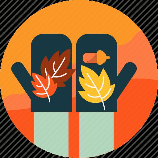 autumn, hand, leaf, leaves, nut, season, seed icon