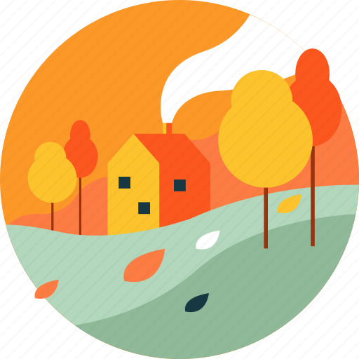 architecture, autumn, building, home, house, nature, tree icon