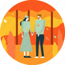 autumn, datting, leaf, leaves, love, people, romantic icon