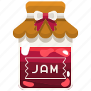 breakfast, conserve, food, jam, jar, strawberry icon