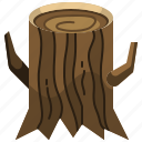 log, nature, stump, tree, wood icon