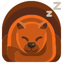 autumn, bear, hibernating, hibernation, inactivity, sleep, winter icon