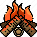 bonfire, campfire, camping, firewood, flame, trunk, wood icon