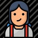 education, student, girl, avatar, school icon