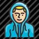 hooded, man, clothing, costume, avatar