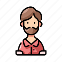avatar, beard, hipster, male, man, mustache, profile icon