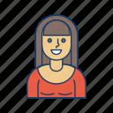 female avatar, female character, female portrait, style icon, woman profile icon icon