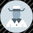 avatar, cowboy, hat, human, man, secretive, spy icon