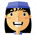 avatar, girl, hat, person, profile, smiley, woman icon