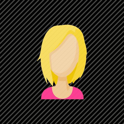 avatar, blonde, cartoon, faceless, sign, style, woman icon