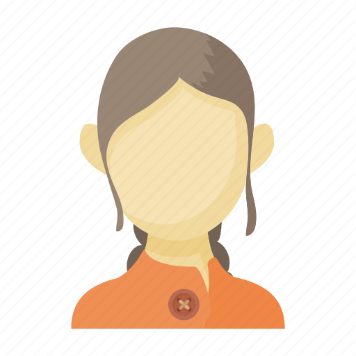 avatar, brown-haired, cartoon, faceless, sign, style, woman icon