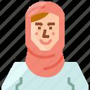 arab, avatar, girl, muslim, profile, user, woman icon
