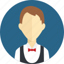 business, clothing, dress, lady, man, profile, wear icon