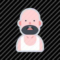 avatar, bald, beard, character, male, man icon