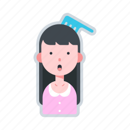 avatar, character, comb, girl, long hair icon