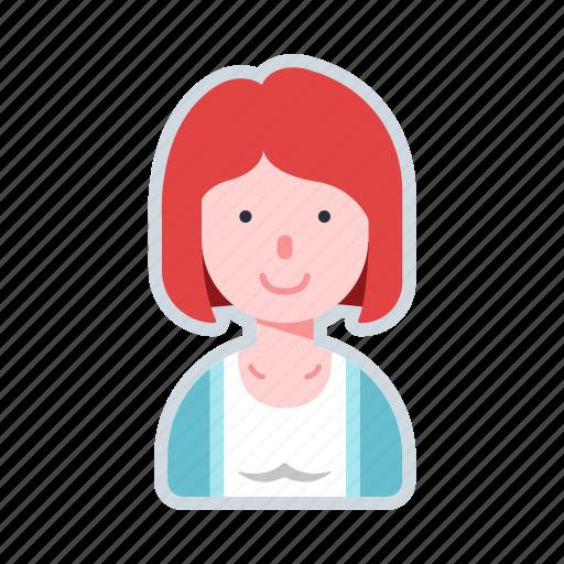 avatar, character, female, short hair, woman icon