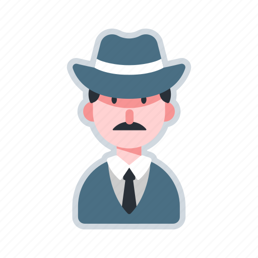 avatar, character, detective, hat, investigation icon