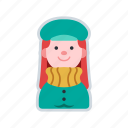 avatar, character, coat, girl, winter clothing icon