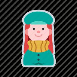 avatar, character, coat, girl, winter clothing icon