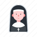 avatar, catholic, character, nun, religion icon