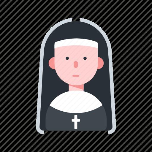 avatar, catholic, character, nun, religion icon