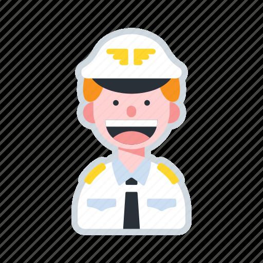 avatar, aviation, captain, character, pilot icon