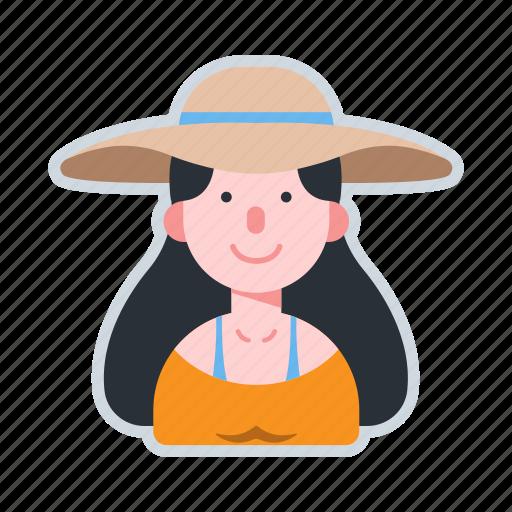 avatar, brunette, character, sun hat, woman icon