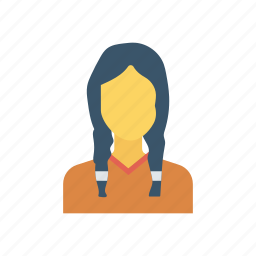 face, girl, hair, student icon