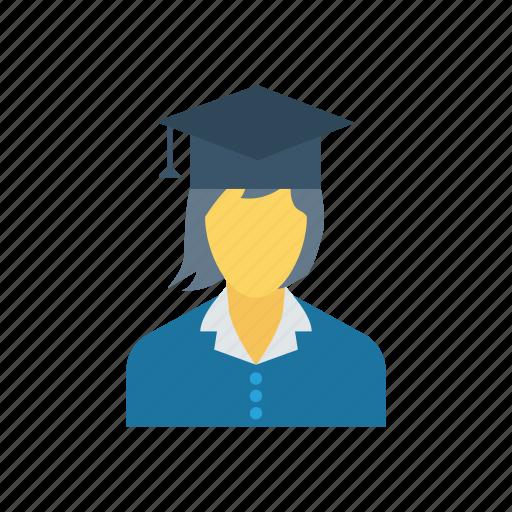 education, girls, graduate, university icon