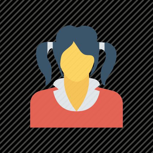 avatar, girl, schoolgirl, student icon