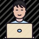 boy, employee, guy, laptop, man, perople, person, user, worker
