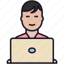 boy, employee, guy, laptop, man, people, person, user, worker icon