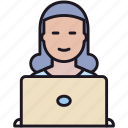 employee, girl, guy, laptop, people, person, user, woman, worker icon