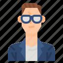 avatar, casual, glasses, men, profile, suit, user