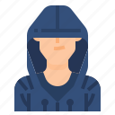 avatar, hacker, hoodie, man, men, profile, user icon