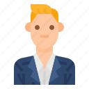 avatar, casual, men, profile, suit, user, worker icon