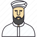 avatar, bread, human, man, muslim, muslim avatar, muslim man, people, person icon