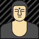 bald, buddha, cartoon, character, character set, famous, man, person icon