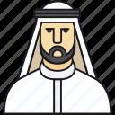 arab man, arabian, arabic, human, kandura, man, muslim, people, person icon
