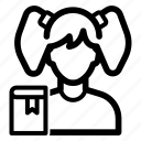 avatar, girl, student icon