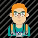 avatar, backpacker, camera, man, photo, travel, trip